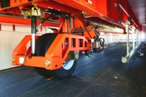The weighted wheel assembly is on the underside of the heavy vehicle simulator (VDOT photo).